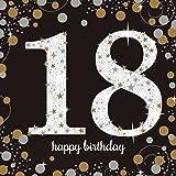 Amscan Sparkling Gold 18er Geburtstag Papier Servietten (16 Stück)