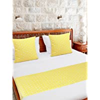 S9home by Seasons Cotton Geometrical Yellow Double Bed Runner Set with 2 Cushion Covers 16x16 inch and 1 Bed Runner 90x18 inch