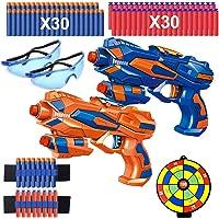 2 Pièces Pistolet Enfant, Pistolet Flechette Jouet avec 60 Mousse Fléchettes + 2 Paires Lunettes de Protection + 2…
