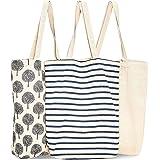 Bolsas reutilizables para la compra (Paquete de 3) - Bolsas de supermercado con asas muy resistentes, 38 cm x 42 cm x 9.4 cm