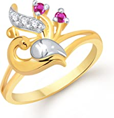 V. K. Jewels Mayur Gold And Rhodium Plated Ring For Girls - Fr1209G [Vkfr1209G]