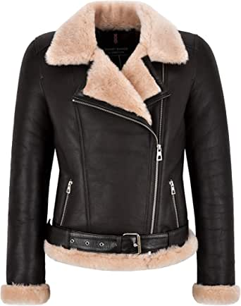Smart Range Leather Giacca da Donna in Shearling B3 Giacca da Motociclista Marrone con Zip Incrociata Marrone Giacca in Vera Pelliccia di Montone NV-149