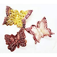 Set di Farfalle Decorate a mano Le Ceramiche del Castello Nina Palomba Made in Italy