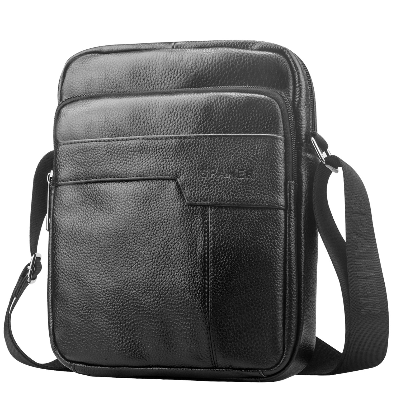 968ab71c44 SPAHER Uomo Borsa a spalla mano Uomini in pelle Cuoio borsa di affari del  messaggero organizer portatutto della Zaino Crossbody Casual Tote bag Sling  ...