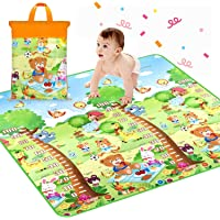 Keekos Waterproof Double Side Baby Crawl Floor Mat with Zip Bag to Carry for Kids Picnic Play School Home (6.5X 5 ft, Multicolour) with Zip Bag to Carry
