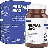 Magnesium Kapseln pur | PRIMAL MAG | Premium Magnesiumcitrat und Magnesium Glycinat Pulver in Kapseln | Frei von Zusatzstoffen wie Magnesiumstearat oder Gelatine | Laborgeprüft | - 120 Kapseln
