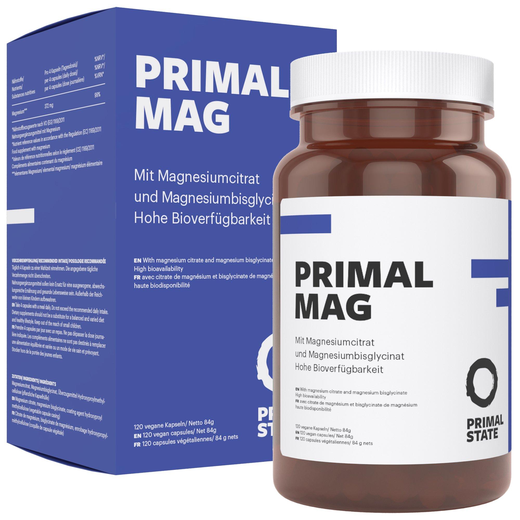 Magnesium Kapseln hochdosiert von Primal State, Magnesiumkomplex aus Magnesiumcitrat und Magnesium Glycinat, frei von Zusatzstoffen – 120 Kapseln