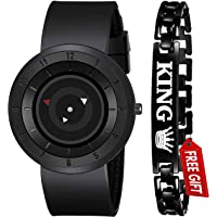 Acnos Brand - A Full Black Stailess Steel Case with Uniq Time Presentation Analog Watch with FRE King Bracelet for Mens…
