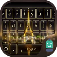 Gold Paris Tower Theme&Emoji Keyboard