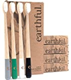 Deluxe Organic Bamboo Toothbrushes by earthful | Sustainable Reusable Wooden Toothbrush with BPA Free Medium Soft Nylon Brushes | 4 Pack with Eco-Friendly Biodegradable Packaging | Vegan & UK Designed