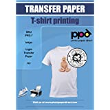 PPD A3 x 10 vellen PREMIUM Inkjet T-shirt Transfer Papier voor Inkjet printers - Transparante transfer folie speciaal voor li