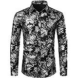 PARKLEES Men's Luxury Paisley Gold Shiny Printed Stylish Slim Fit Button Down Dress Shirt