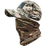 ehsbuy Cappellino Militare Camo Cappello Softair Baseball Scaldacollo Berretto Visiera Mimetica Esercito Bandiera Velcro Tatt