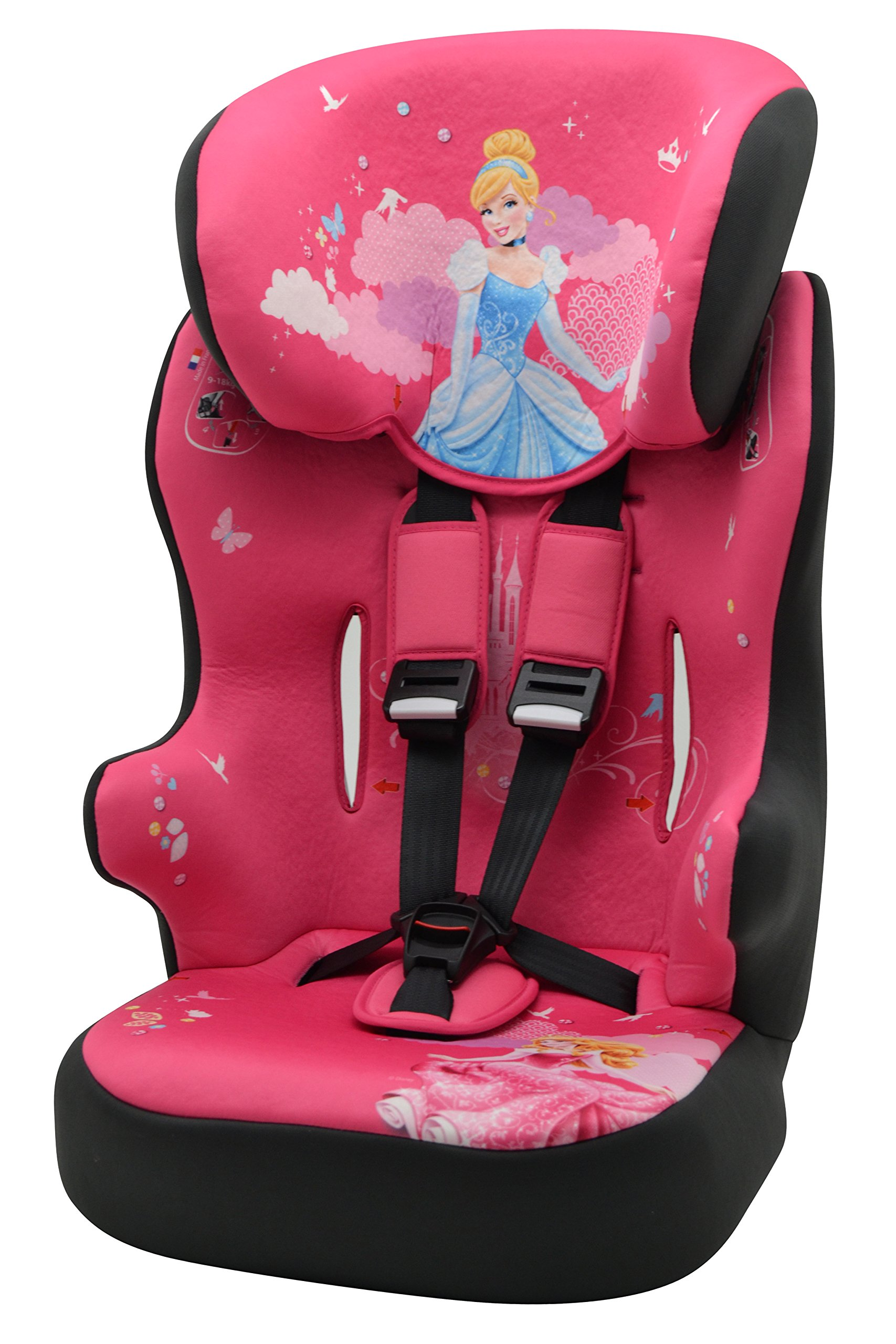 Racer Car Seat for Kids, Group 1/2/3 (9 to 36 kg), Disney Princess MyCarSit Lightweight, portable and secured car seat Side impact protection Individual harness tensioners 1