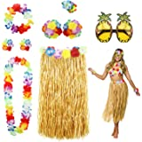 PHOGARY 8PCS Falda de hula Kit de accesorios de vestuario para Hawaii Luau Party - Bailando hula con Flor Bikini Lei hawaiano