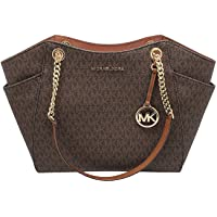 Michael Kors Jet Set Travel Large Chain Shoulder Tote (Brown Sig PVC)
