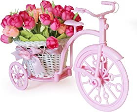 Tied Ribbons Cycle Shape Flowers Vase with Peonies Bunches
