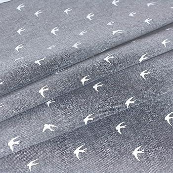 Chambray Navy Swallows on Medium Blue Denim Look Cotton Blend Fabric Dress Mak
