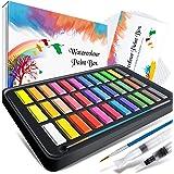 Caja de acuarelas, RATEL set de pintura de acuarelas incluye 36 colores pigmento sólido + 2 plumas de gancho de línea + 2 pin