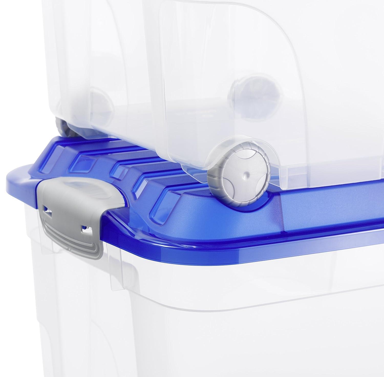Rollbox kunststoff  Rotho Aufbewahrungskiste ROLLER 4 mit Deckel und 4 stabilen Rollen ...