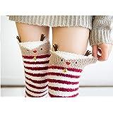 MAO MAO Ragazza animale calze al ginocchio a righe carino accogliente lungo coscia calze alte compressione caldo