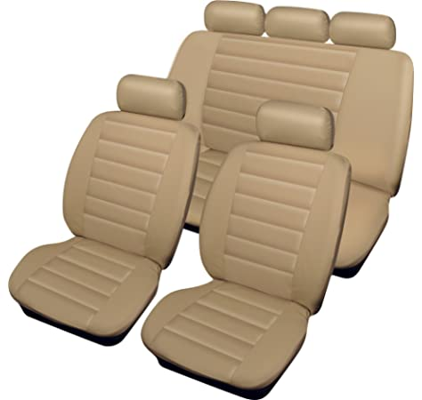 Jiahe Car Seat Cover For Mercedes Benz A B C M G Class Universal Car Seat Protectors 5-Seat Full Set Artificial Leather Waterproof,Easy Install,Beige Deluxe