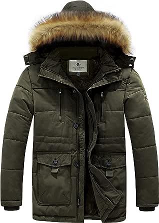 WenVen Men's Winter Casual Fleece Coat Classic Cotton Outdoor Jacket Faux Fur Trimmed Hood Coats Mid-Length Windproof Parka Jacket