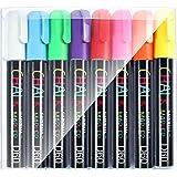 GAINWELL Pennarelli a Gesso Liquido - Confezione da 8 Colori Vivaci - Punta 6 mm - Per superfici Non Porose come Lavagne, Pan
