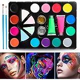 Janolia 18 Colors Pintura Facial, Pintura Corporal con 14 Colores Normales, 2 Fluorescentes y 2 Purpurinas, Maquillaje para C