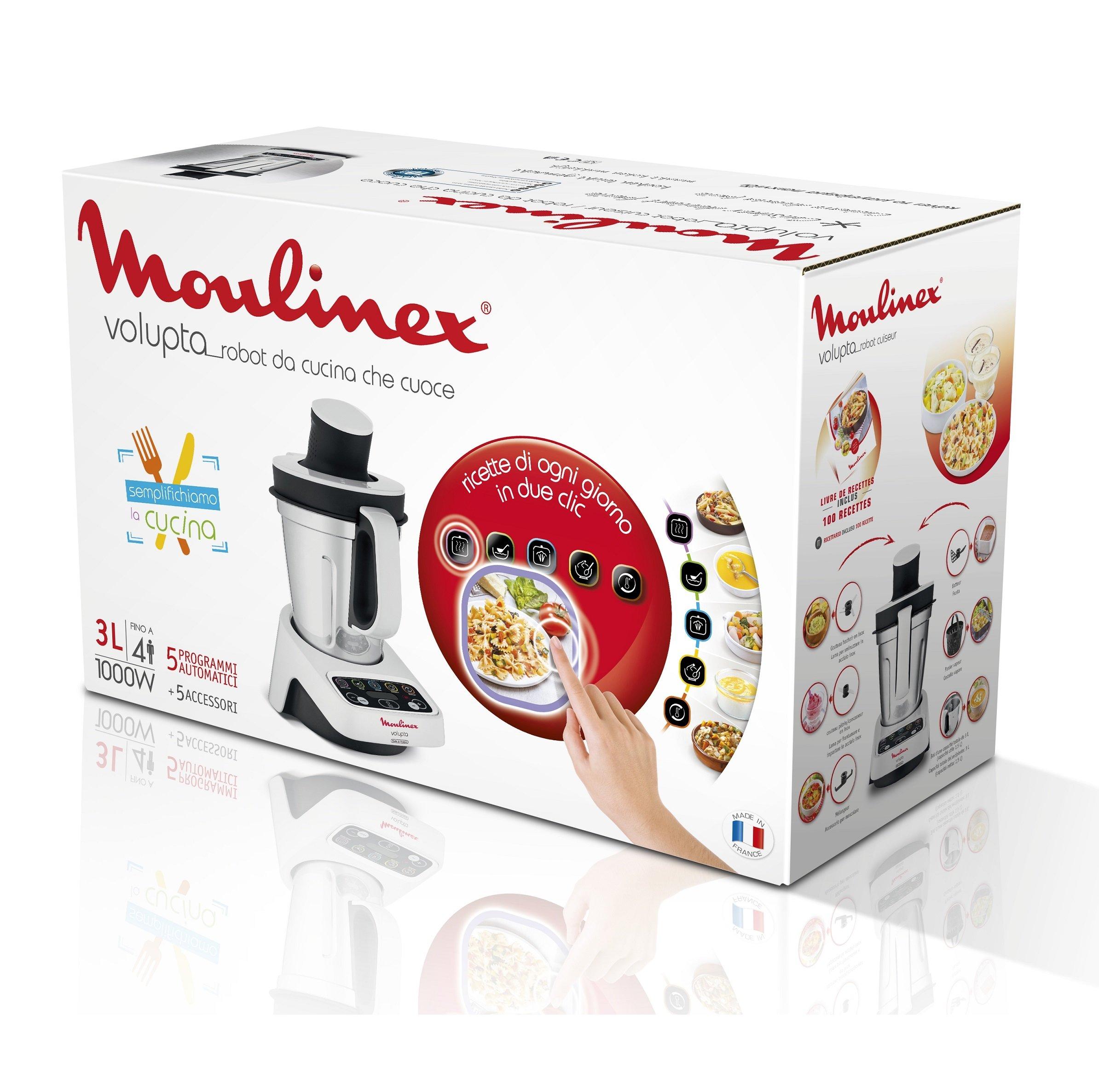 Moulinex-Volupta-hf404113-Multifunktions-Kchenmaschine-1000-W-Fassungsvermgen-3-L-Intuitive-Schnittstelle-mit-5-Programme-5-Zubehr
