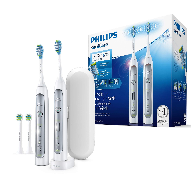Philips Sonicare HX9114/37 FlexCare Platinum 2 Elektrische Zahnbürsten im Set – 2 Handstücke, 4 Bürstenköpfe, Drucksensor, 3 Putzprogramme, 3 Intensitäten, Timer & Etui – Weiß