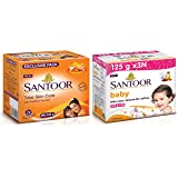 Santoor Sandal & Turmeric Soap for Total Skin Care, 125g (Pack of 8) & Santoor Baby Soap with Milk Cream, Saffron and Almond