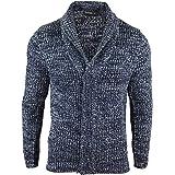 Mens Shawl Cardigan Warm Winter Knitted Wool Feel Jumper Blue Grey Chunky