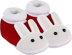 NeskaModa Unisex Baby Maroon Cotton Booties -Children: S