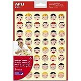 APLI Kids 18770 - zakje met 144 emotions-gezichten in 2 maten, afneembare lijm, 3 vellen