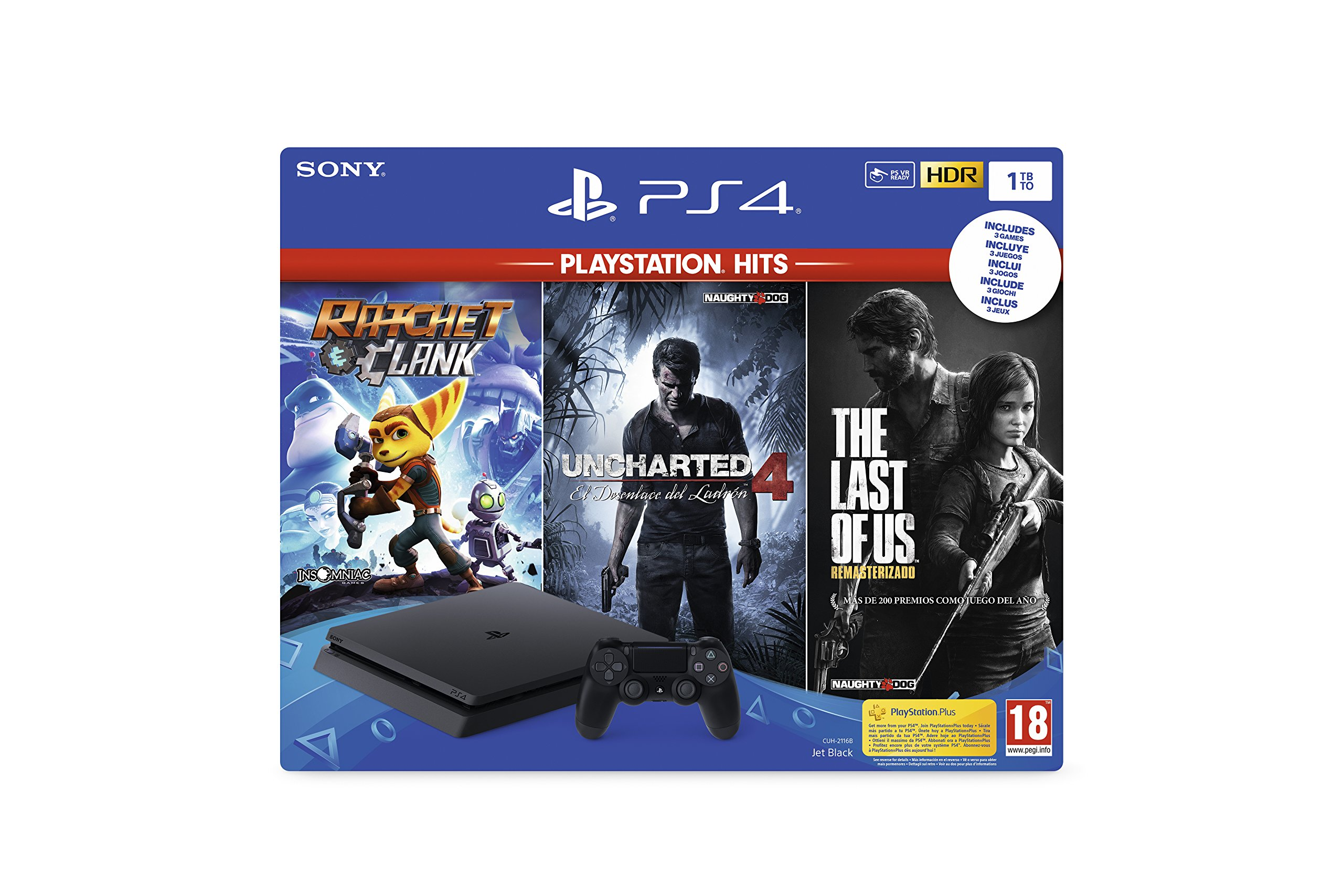 Playstation 4 (PS4) – Consola 1TB + Ratchet & Clank + The Last of Us + Uncharted 4