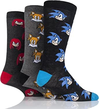 Mens 3 Pair SockShop Sonic the Hedgehog, Knuckles and Tails Cotton Socks - Assorted 6-11