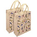 RangTeq Women's Tote Bag (Set of 2) (printed Yoga jute Bag_Beige)