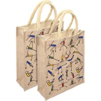 SNDIA Eco-Friendly Jute Bag, 2 pk Yoga Printed Tiffin/Shopping/Grocery Hand Bag with Zip & Handle for Men and Women