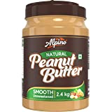 Alpino Natural Peanut Butter Smooth 2.4 KG | Unsweetened | Made with 100% Roasted Peanuts | 30% Protein | No Added Sugar | No