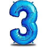 envami Globos de Cumpleãnos 3 Azul I 101 CM Globo 3 Años I Globo Numero 3 I Decoracion 3 Cumpleaños Niños I Globos Numeros Gi