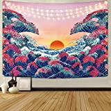 HASTHIP® Sunset Wall Tapestry Forest Tree Tapestry Mountain Wall Hanging Psychedelic Nature Polyester Landscape Tapestry Home