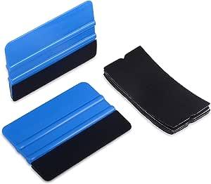 Winjun 2 Pack Blau Auto Rakel Filzkante Filzrakel Folienrakel Verkleberakel Kunststoffrakel Andrückrakel Kantenrakel Mit 5 Stück Rakelfilz Für Autofolien Tönungsfolie Fensterfolien Lackschutzfolie Auto