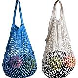 Stonges 2 x Einkaufstaschen aus Baumwollnetz, sparsam und umweltfreundlich, einfach zu tragen (weiß + blau).