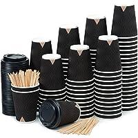 100 Noir Ondulation Double Paroi Gobelets Carton pour Café à Emporter - Tasse Café 360ml avec Couvercles et Agitateurs…
