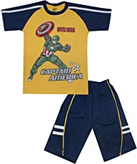 Kid's Care Captain America Printed Cotton T-Shirt and Half Pant Combo Set for Boys- Avengers Special(8001)