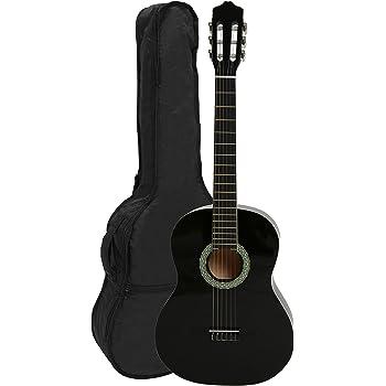 Stagg C440 M BLK 4//4 Schwarz klassische Gitarre mit Decke aus Lindenholz