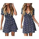 Vestido corto de verano para mujer, de lunares, de manga corta, cuello en V, de color liso, de verano