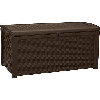 Keter Borneo Outdoor Plastic Storage Box Garden Furniture, Brown, 129.5 x 70 x 62.5 cm