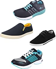 Chevit Super Pack of 4 Casual and Sports Shoes for Mens (Loafers, Sneakers & Running Shoes)